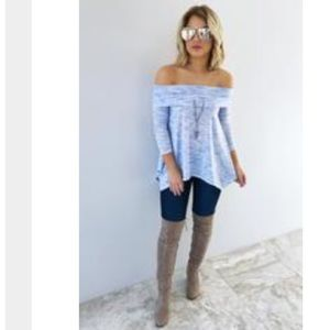 More Like Me Heathered Baby Blue Blouse